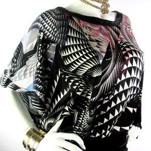 NWT CUSTO BARCELONA Dress Black Geometric Top